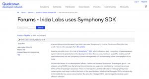 qualcomm Irida Labs Symphony SDK