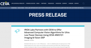 IRIDA Labs Partners with CEVA