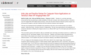 Irida Labs and Tensilica Partner